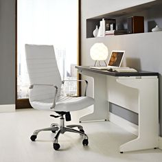 Add a touch of class into your office or home workstation with this durable Modway Finesse Highback Office Chair in White. High Back Office Chair, Home Office Chairs, Home Office Decor, Office Decorations, Decor Ideas, Office Furniture, Furniture Ideas, Modern Furniture, Furniture Design