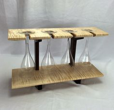 Four Glass Wine Rack by HartmanWoodworks on Etsy