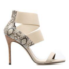 Snake Print Strap Heel Sandal