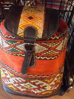 Moroccan #Tribal Large Backpack in Kilim Wool & Leather #Travel bag  #Handmade #Backpack