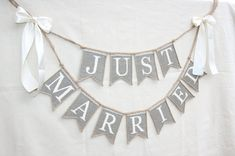 Just Married Wedding banner rustic wedding by FriendlyEvents