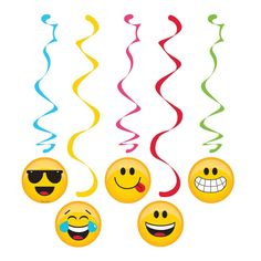"Decorations to compliment your Emoji party! + Package includes (5) hanging swirls + Each includes (2) 30"" swirls & (3) 39"" swirls + Swirls feature coordinating colors and images of various emoji expre"