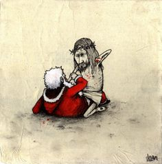Christmas brawl. Who will win?  (Streetart by Dran)