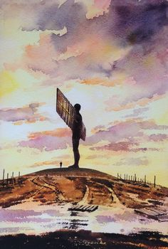 """A Limited Edition Print of """"The Angel of the North"""", Gateshead Newcastle upon Tyne."""