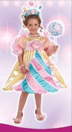 ALL costumes are now half price. Girl's Princess Costume Candy Princess children's Halloween costume includes: colorful dress, tiara headpiece and 'candy' shoe attachments. $21.06