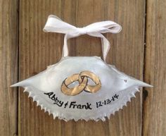 Hand painted silver crab shell ornament   by SeaIslandArtworks