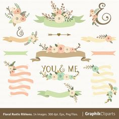 Floral Rustic Ribbons Flowers By Graphikcliparts