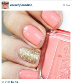 Coral nails with gold glitter accent nail