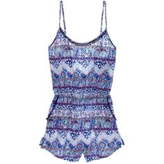Victoria's Secret The Beach Romper ($50) ❤ liked on Polyvore featuring jumpsuits, rompers, blue romper, pom pom romper, playsuit romper, print romper and victoria secret romper