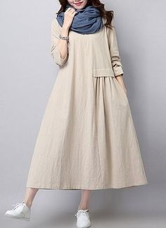 Buy Casual Dress For Women at JustFashionNow. Online Shopping JustFashionNow Women Casual Dress Crew Neck Shift Going out Dress Long Sleeve Casual Cotton Gathered Solid Dress, The Best Going out Casual Dress. Discover unique designers fashion at JustFash Simple Dresses, Casual Dresses, Casual Outfits, Fashion Dresses, Girly Outfits, Mode Outfits, Fashion Moda, Work Fashion, Unique Fashion