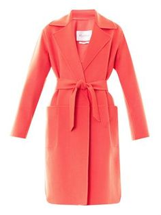 Lightweight angora-wool-cashmere blend coral hand-stitched coat by MaxMara.