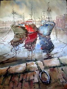 Watercolor by Jose Luis Lоpez Perez Watercolor Architecture, Watercolor Landscape, Watercolor Artists, Watercolor Paintings, Sailboat Painting, Boat Art, Nautical Art, Illustration, Stencil Art