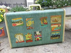 Vintage Suitcase with Decals Travel Themed by TheVintageOrangeJar