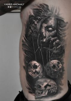 Tattoo by Vainius Anomaly  http://www.facebook.com/vainius.art/ http://www.instagram.com/vainius.art/  #tattoos #tattoo #Skulls #depressed #master #control #creepy #horror #darkness #inked #sidetattoo #vainiusanomaly