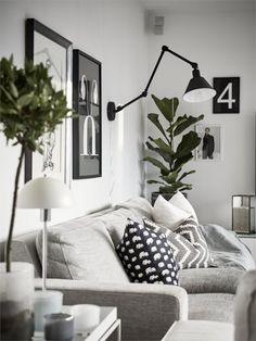 black graphic prints in a white home -