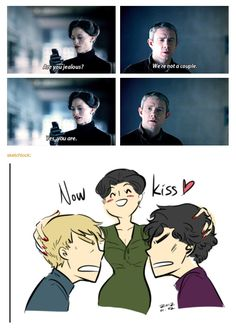 I think it's HILARIOUS how, Irene ships John and Sherlock together even though she loves Sher.