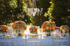 via Heavenly Blooms: Orchard Wedding - Citrus Wedding Colors Summer Wedding Decorations, Wedding Centerpieces, Wedding Table, Table Decorations, Centrepieces, Wedding Colors, Wedding Flowers, Wedding Designs, Wedding Ideas