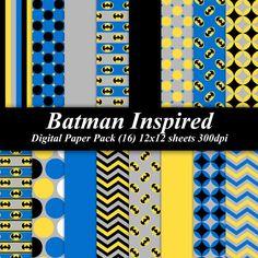 BUY 2 GET 1 FREE - Batman Inspired Digital Paper Pack (16) 12x12 sheets 300 dpi scrapbooking invitations superhero birthday blue yellow gray. $4.00, via Etsy.