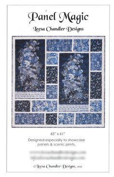 "Panel Magic Quilt Pattern No. 069RK, Leesa Chandler Designs 65""x61"" Finished Size Designed for Panels, Scenic & Large Prints"