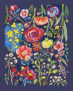 Carolyn Gavin artwork. Print of an original Gouache painting of an flowers reminiscent of an Antique Tapestry with a dark navy background and rich, colourful flowers.