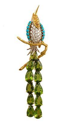 yafa jewelry brooches | ... Turquiose Peridot Bird Pin - Yafa ... | Beautiful animal jewe