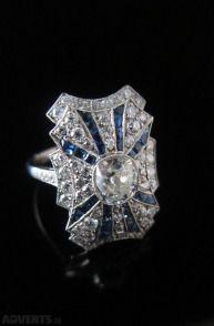 Art Deco Ring Platinum with sapphire & diamonds #diamonds #sapphire #ring