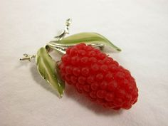 HUGE Raspberry Delight Vintage Rubber and Enamel Brooch