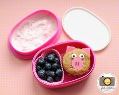 This little piggy bento was for her morning nutrition break. She had a sweet little piggy decorated muffin, a silicone muffin cup filled with blueberries and some yogurt with sprinkles.    Meet the Dubiens