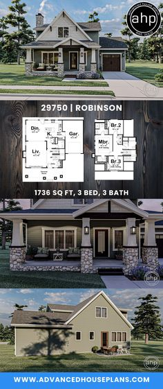 #advancedhouseplans #houseplans #floorplans #homeplans #designbuild #homebuilderplans #architecturaldesign #homedesign #curbappeal #robinson #charmingcottage #charminghomes #uniquehomedesign #smallhomedesign Cottage Style House Plans, Cottage Style Homes, River Rock Stone, Shake Siding, Cost To Build, Hall Bathroom, House Elevation, Exposed Beams, Local Real Estate
