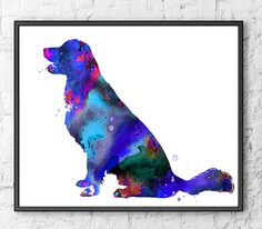 Watercolor Art Print Golden Retriever Dog Art Dog by Thenobleowl