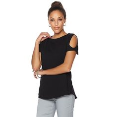 Diane Gilman DG LUXSPORT Cold-Shoulder Hi-Low Top with Pocket -