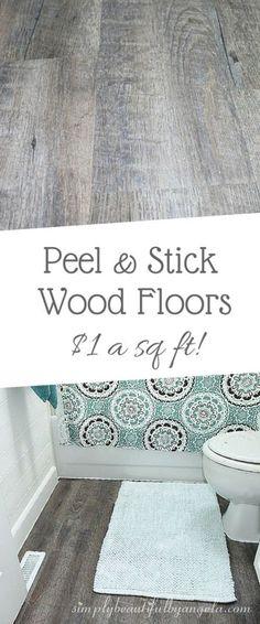 Peel and Stick Wood Look Vinyl Flooring.