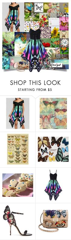 """🦋The Butterfly Garden🦋"" by cheyenne-muter ❤ liked on Polyvore featuring Rascal, Sophia Webster and Valentino"