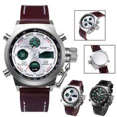 f5d775699c2 Desporto Mens Relógios Top Marca de luxo Exército Analógico Digital LED  Watch Relógio de couro à prova d água Relógio de pulso Militar Sports Watch  Men