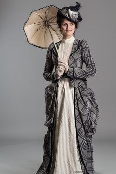 Women's Victorian Plaid Day Dress (costume from BBC's 'Ripper Street') - historically accurate Victorian fashion for women. White day dress with gray plaid jacket, hat and parasol  - For costume tutorials, clothing guide, fashion inspiration photo gallery, calendar of Steampunk events, & more, visit SteampunkFashionGuide.com