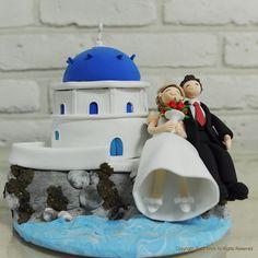 Italy Santorini custom wedding cake topper gift by annacrafts, $270.00