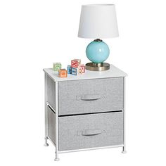 mDesign Short Vertical Dresser Storage Tower Sturdy Steel Frame Wood Top Easy Pull Fabric Bins Organizer Unit for Child/Kids Bedroom or Nursery Textured Print 2 Drawers Gray/White -- Check out this great product-affiliate link. 2 Drawer Dresser, Fabric Dresser, Fabric Drawers, Dresser Storage, Cubby Storage, Fabric Bins, Table Storage, Fabric Storage, Dresser As Nightstand