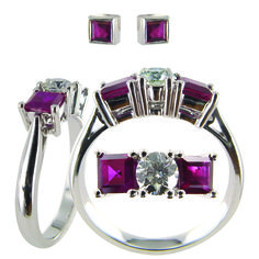 Upcycle– to use again, with a new purpose and with greater value than its original state. Here is an example of us upclycling a pair of ruby earrings by using them in a ring.