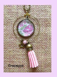 Sautoir rétro créole liberty tatum rose : Collier par crocmyys