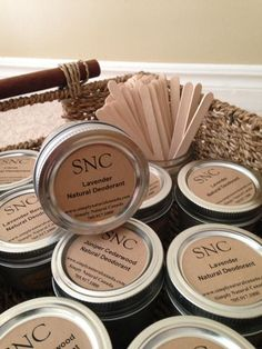 Our natural cream deodorant varieties are unscented, lavender, lavender bergamot, lavender patchouli, citrus, and juniper cedarwood. Ingredients are coconut oil, olive oil, arrowroot powder, corn starch, baking soda, clay, vitamin E, probiotics and essential oils.  Usage: When first opening your jar of SNC deodorant you may notice some settling of ingredients. Simply stir and then warm a small amount between your fingers before applying to your armpits. Each jar lasts two to three months.