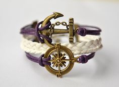 Brass Anchor & Compass Charm Bracele $8.50