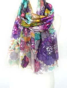 Multicolour silk Scarf. Hand Painted Silk Shawl. Echarpe Foulard. Purple Shawl. Floral Gift for Her.