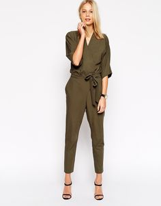 Image 1 ofASOS Jumpsuit With Tie Waist And Long Sleeves