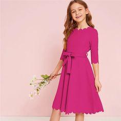 Kiddie Solid Scalloped Hem Girl Party Dress With Belt – gagokid Girls Dresses Online, Dresses For Tweens, Baby Girl Party Dresses, Baby Dress, Dress Girl, Belted Dress, The Dress, Simple Dresses, Cute Dresses