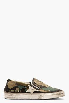 GOLDEN GOOSE Khaki Camo Print Hanami Slip-On Shoes