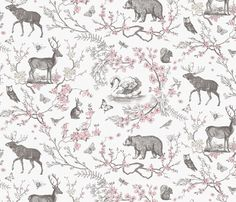 Spring Toile (Grey + Pink) fabric by nouveau_bohemian on Spoonflower - custom fabric