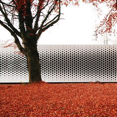 Format Elf Architekten added a pattern of hexagonal holes to the aluminium facade of this office building to control the amount of daylight entering.