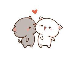 Eliii y Dante ❤❤❤ Cute Love Gif, Cute Love Pictures, Cute Cat Gif, Cute Animal Drawings, Kawaii Drawings, Cute Drawings, Chibi Cat, Cute Chibi, Gatos Cool