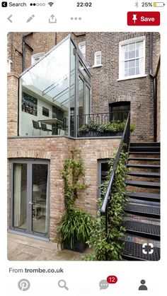 Decorative Objects Illustration Description Trombe - External side view photo of structurally glazed modern extension with clear glass end gable and a switchable frameless glass roof -Read Future House, Exterior Design, Interior And Exterior, Glass Extension, Rear Extension, House Extensions, Interior Architecture, Brick Architecture, Beautiful Architecture