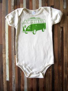 Organic Cotton Onesie - Hand Screen Printed American Apparel Baby Onesie - VW Bus Illustration- Eco Friendly and Awesome (You pick size)